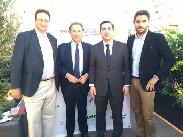 Antonio Burgueño, Secretario General Fundación Economía y Salud, Alberto Jiménez Presidente de la Fundación, Francisco Garcia Cabello y Alex Medina, Dircom de Fes