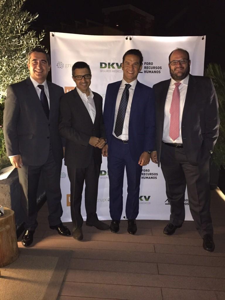 Francisco García Cabello junto a Javier Formariz, Director Canal Alianzas y Grandes Cuentas de DKV, Ignacio Gimeno, Director Comercial de Cheque Gourmet, y Jorge Molinero, Director General Adjunto de Atisa