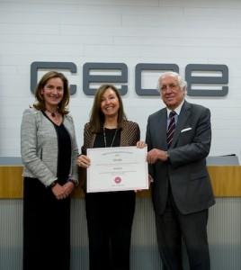 Ana Plaza, Secretaria General CEOE, Montserrat Luquero, directora general de Hudson, y Carlos Espinosa de los Monteros, Alto Comisionado del Gobierno para Marca España